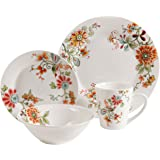 Gibson Home 16 Piece Doraville Floral Dinnerware Set, Multicolor
