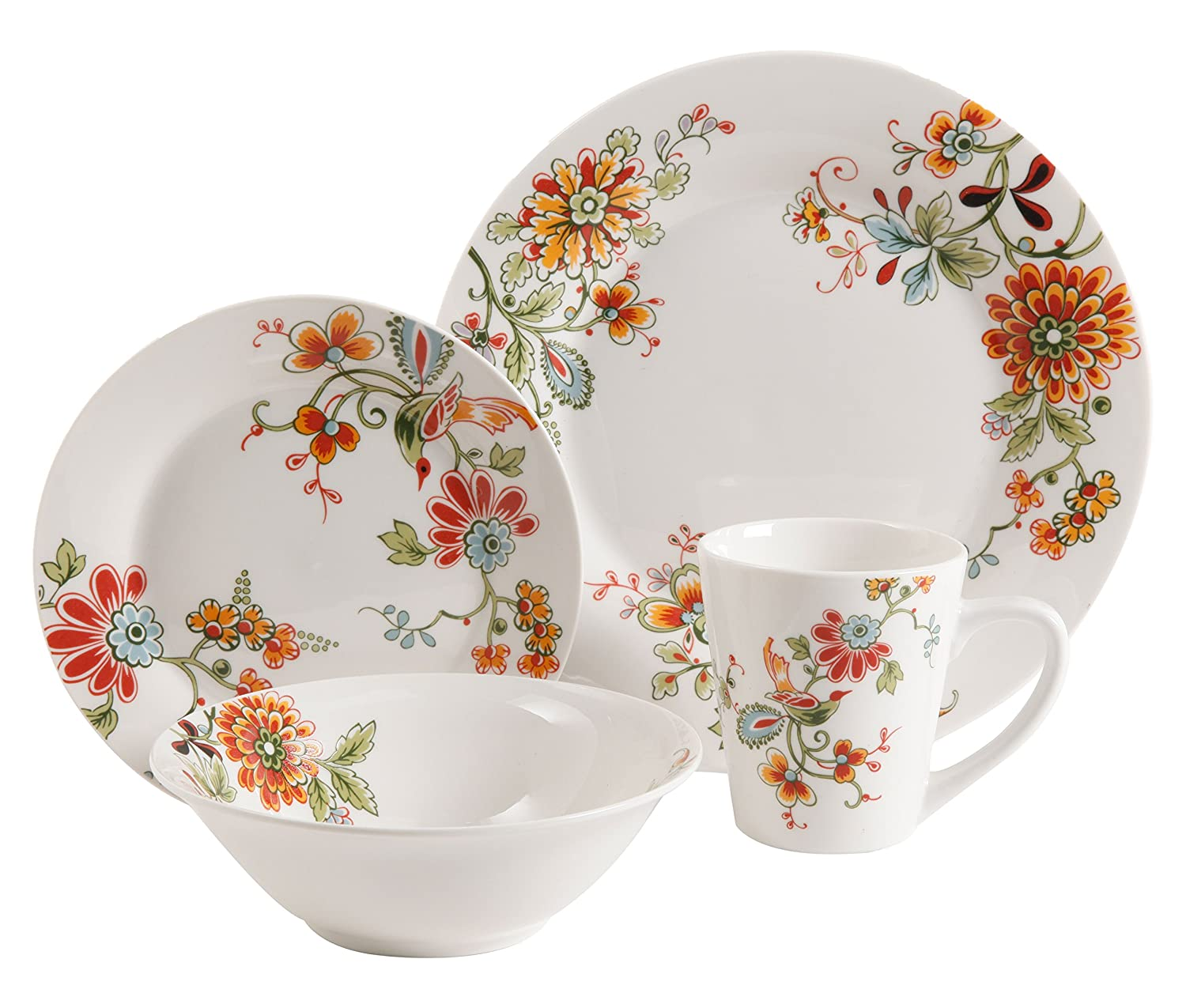 Gibson Home 16 Piece Doraville Floral Dinnerware Set, Multicolor 92950.16RM