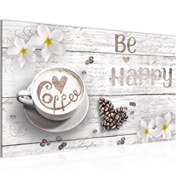 Bilder Küche Kaffee Wandbild 70 x 40 cm Vlies - Leinwand Bild XXL Format  Wandbilder Wohnzimmer Wohnung Deko Kunstdrucke Weiß 1 Teilig - MADE IN ...