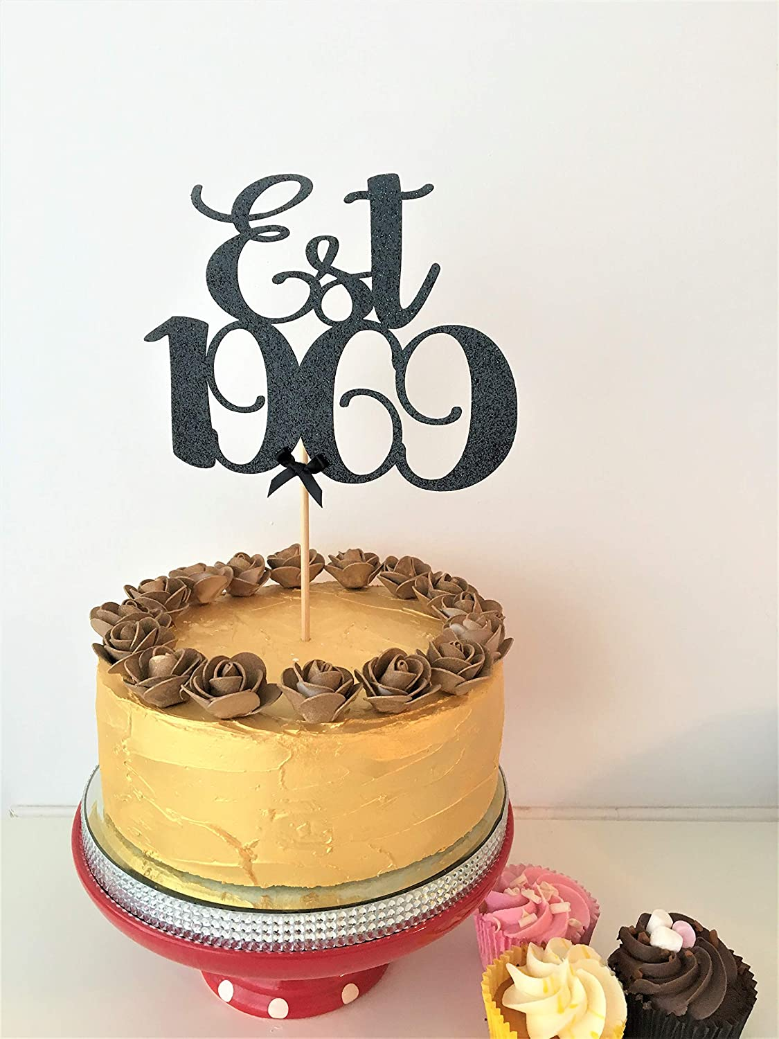 Brilliant Est 1969 Cake Topper 50Th Birthday Decor 50 Years Old Fifty Personalised Birthday Cards Veneteletsinfo