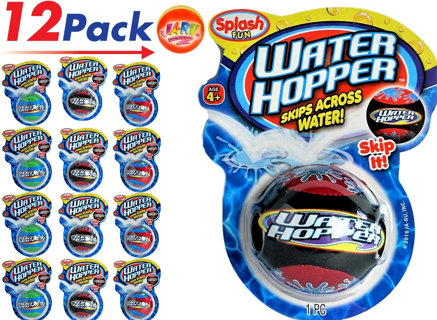 JA-RU Pro Water Hopper Skip it Bouncing Ball (Pack of 12) Bounce & Skips. | Item #880-12p