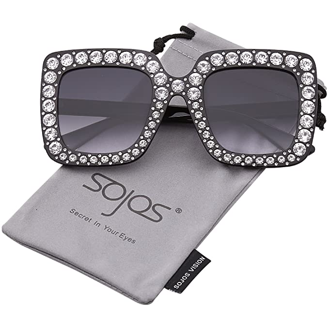 984b71266b SOJOS Crystal Oversized Square Brand Designer Sunglasses for Women SJ2053  with Black Frame Gradient Grey