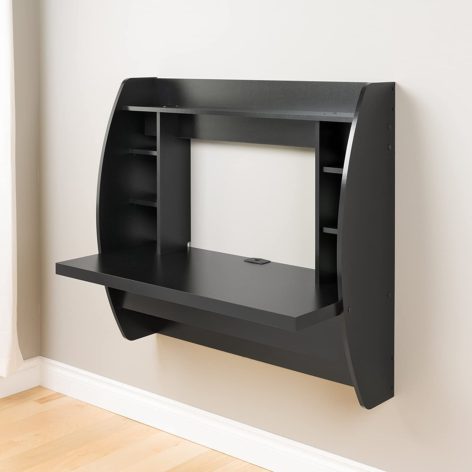 floating office desk. amazoncom prepac wall mounted floating desk with storage in black kitchen u0026 dining office 6
