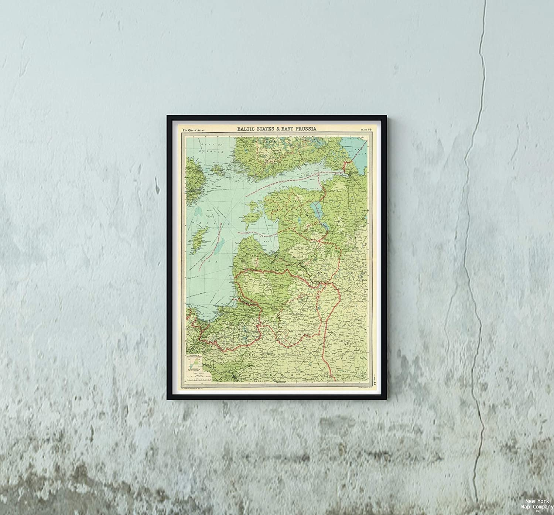 Amazon.com: 1922 Map|World Atlas Baltic States & East ...