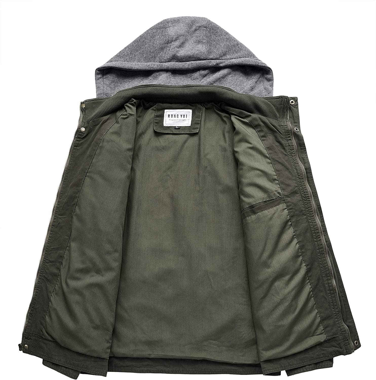 RongYue Mens Casual Cotton Military Windbreaker Jacket with Removable Hood