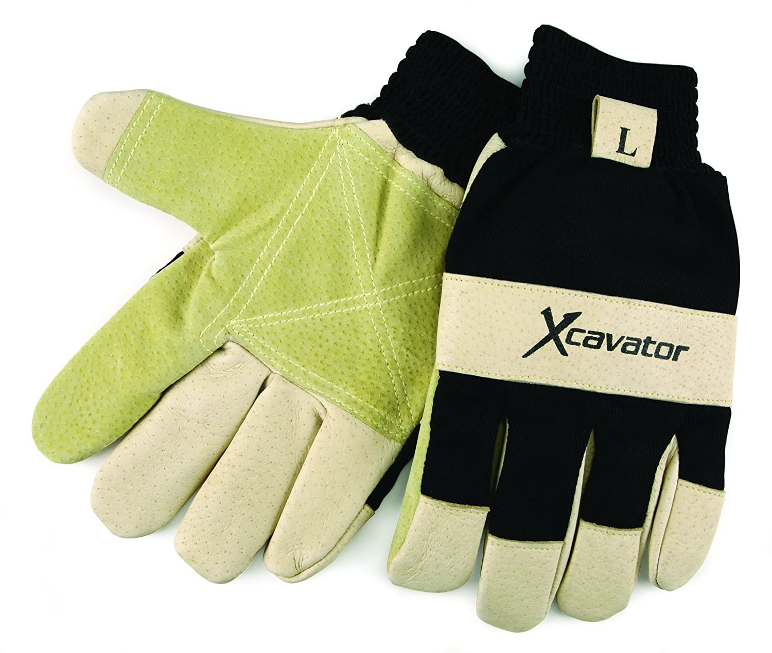 Leather Palm Work Gloves Gold Canvas Back Knit Wrist Large