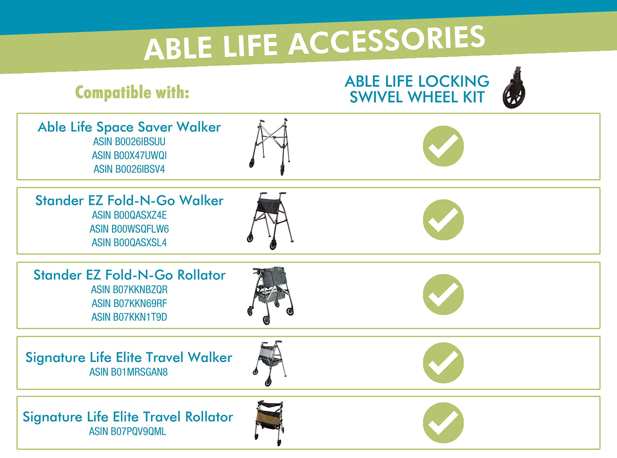 Able Life 2Piece Locking Swivel Wheel Kit, Black, 1.6 Lb by Able Life