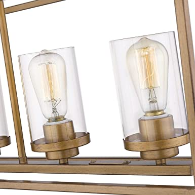 Emliviar 5-Light Pendant Lighting for Kitchen Island P3033A-5LP-1 Antique Gold Finish with Clear Glass Shade Dining Room Lighting Fixture