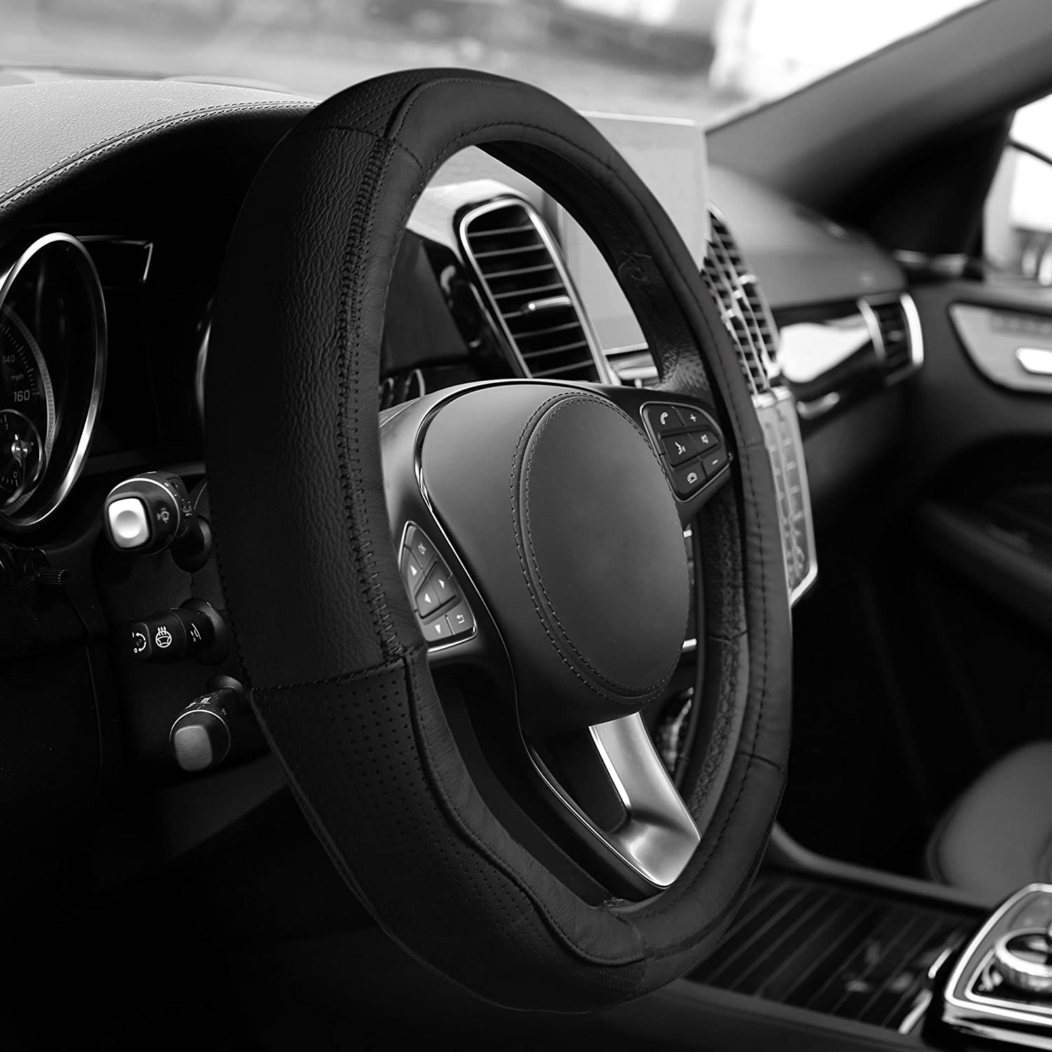 FH Group FH2007BLACK Black Sleek and Sporty Leather Steering Wheel Cover
