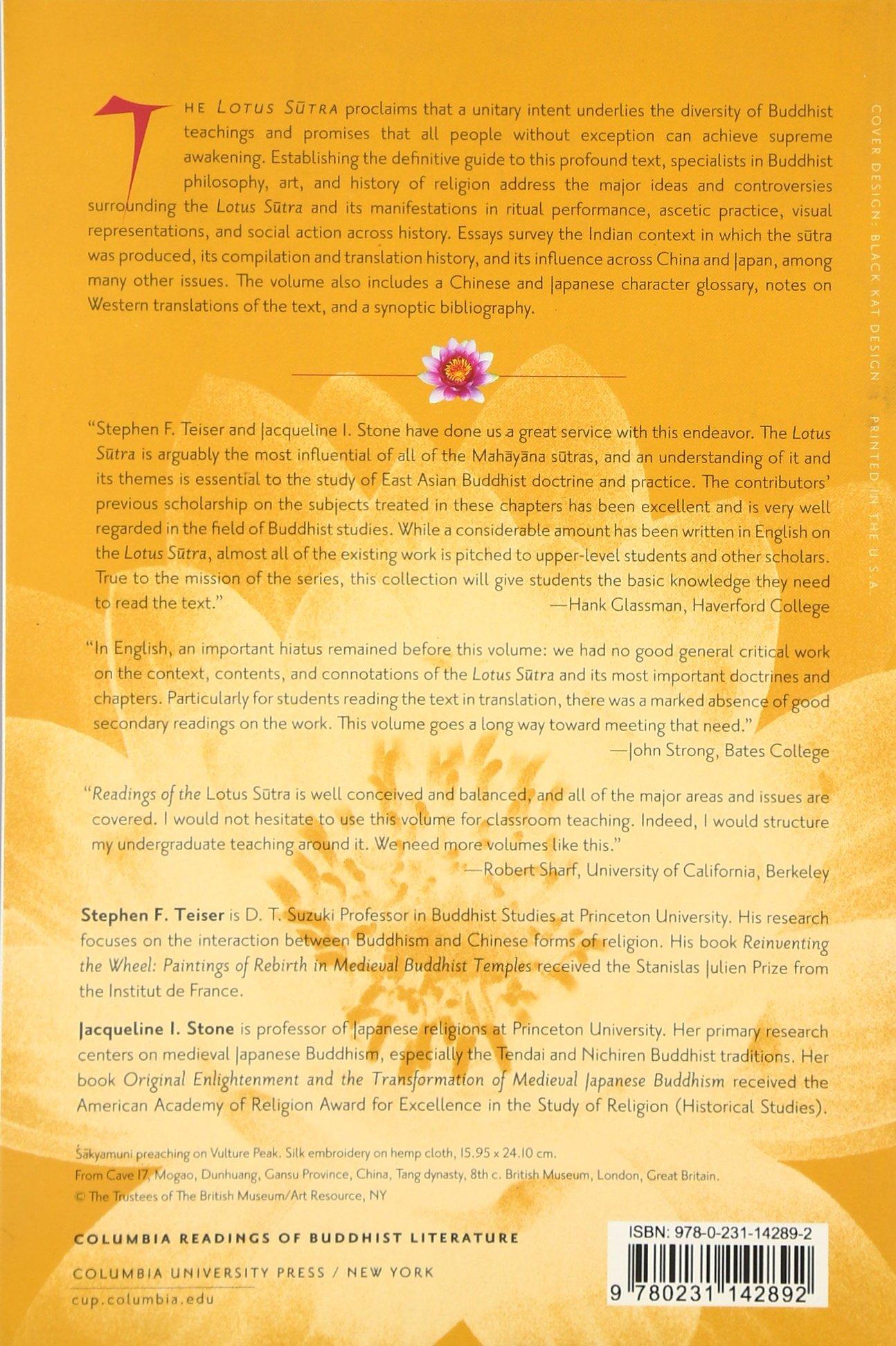 Readings Of The Lotus Sutra (columbia Readings Of Buddhist Literature):  Stephen Teiser, Jacqueline Stone: 9780231142892: Amazon: Books
