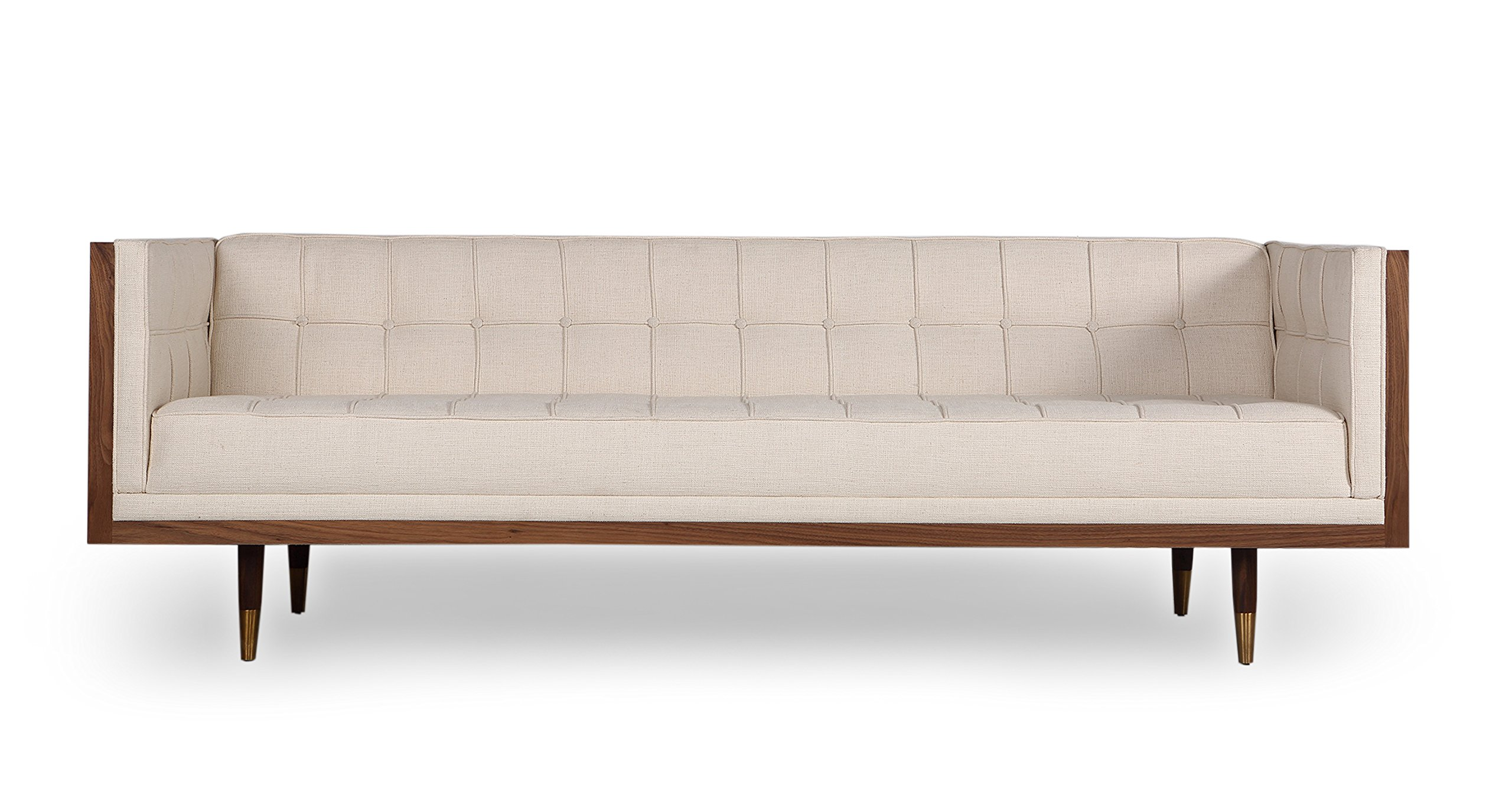 Kardiel Woodrow Midcentury Modern Box Sofa, Cabana Husk/Walnut - Brand: KARDIEL; Style: Woodrow Box Sofa; Cushion: Multi-density low profile Dacron wrapped foam cushions; Feature: The entire sofa is stitched and crafted by hand Seat Upholstery: Vintage Tailored Twill: 60% Linen, 20% Cotton, 20% Nylon; Button Upholstery: Vintage Tailored Twill; Fasteners: Traditional wood dowel joinery Body: Genuine American Walnut Veneer wood; Legs: Accent w/ Metal capped in Copper for a truly mid-century modern look - sofas-couches, living-room-furniture, living-room - 81%2BTIaXLJOL -