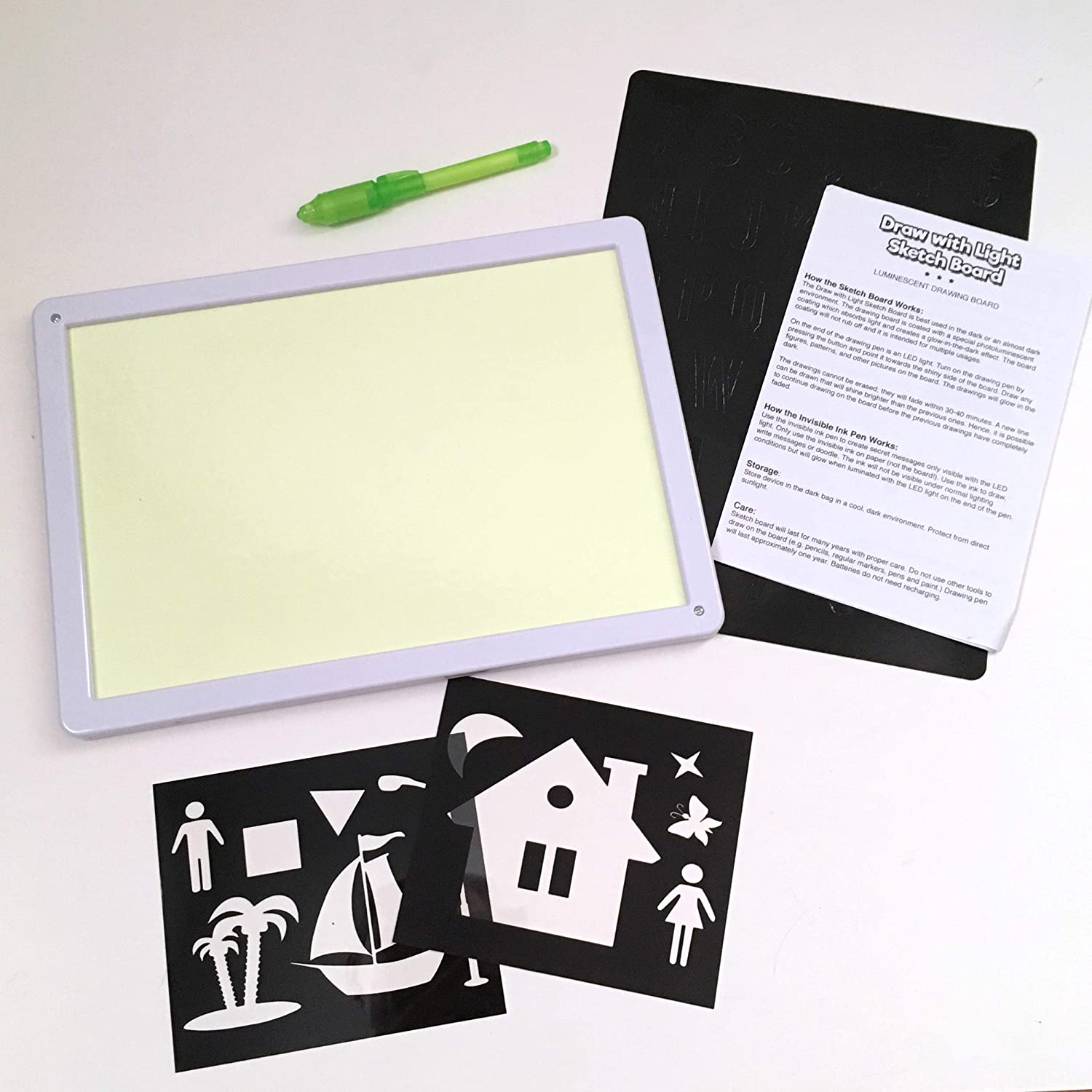 Luminescent Glow in The Dark Drawing Painting for Kids Zen Life Draw with Light Sketch Board