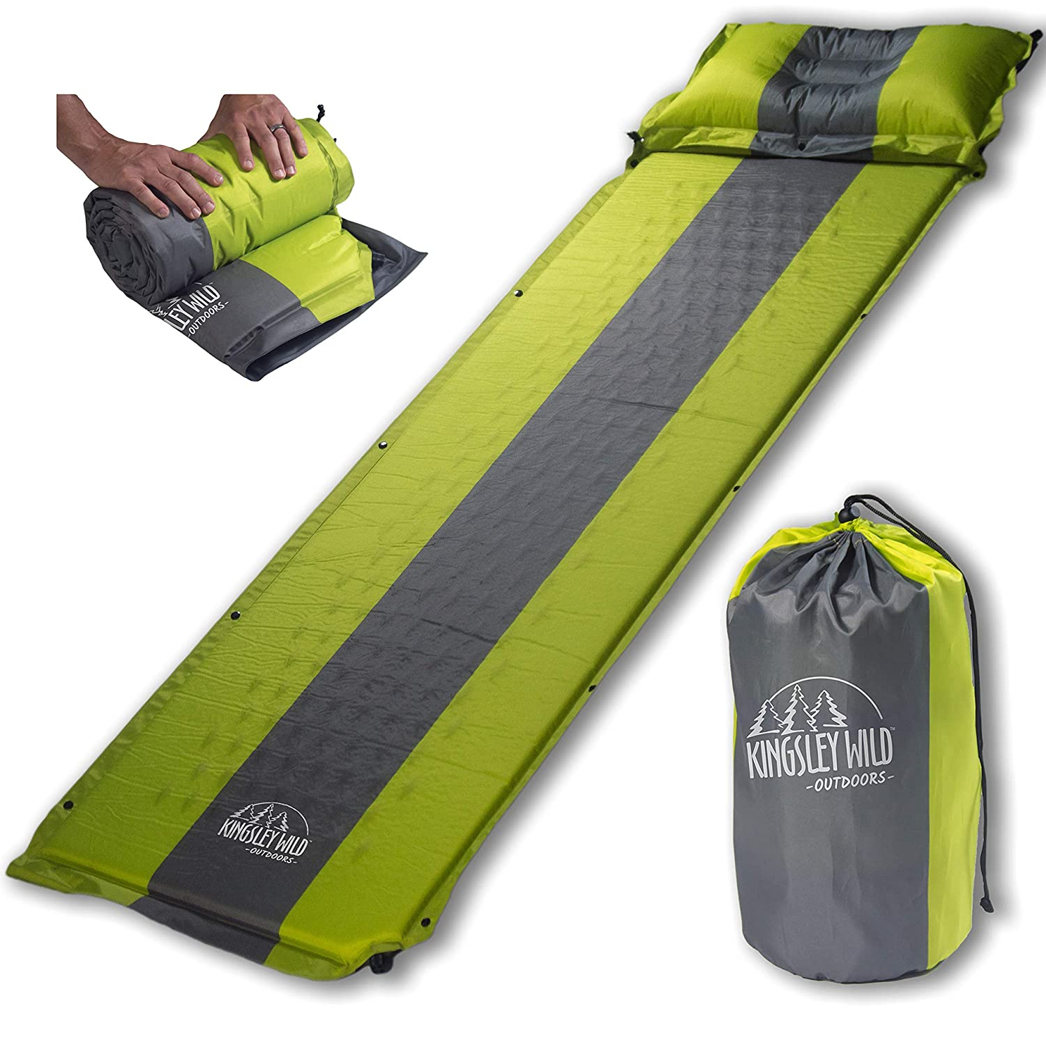 Kingsley Wild Compact, Outdoors Self Inflating [並行輸入品] Sleeping Pad and Pillow Portable (Detachable)- Perfect Mat for Tent Camping, Hiking, or Backpacking- Comfortable, Compact, Waterproof and Easily Portable [並行輸入品] B07R3Y7DGB, マルソルオンラインショップ:cb7f4777 --- anime-portal.club