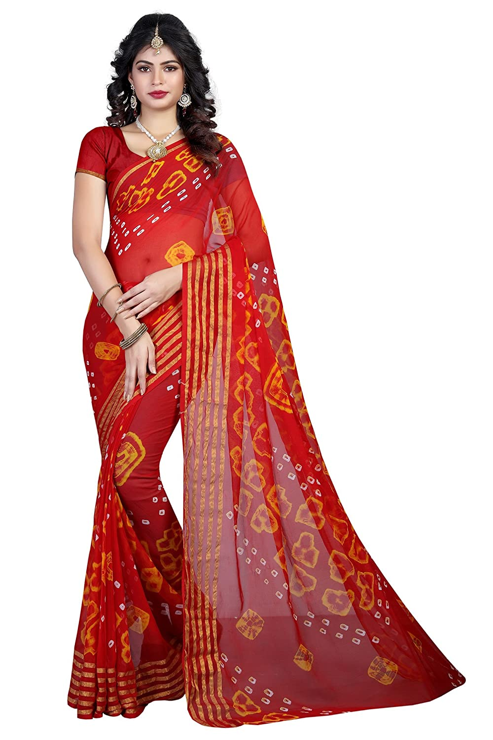 9f56548596 Fab Silk Red Chiffon Bandhani Saree With Blouse Piece (6LINE_RED):  Amazon.in: Clothing & Accessories