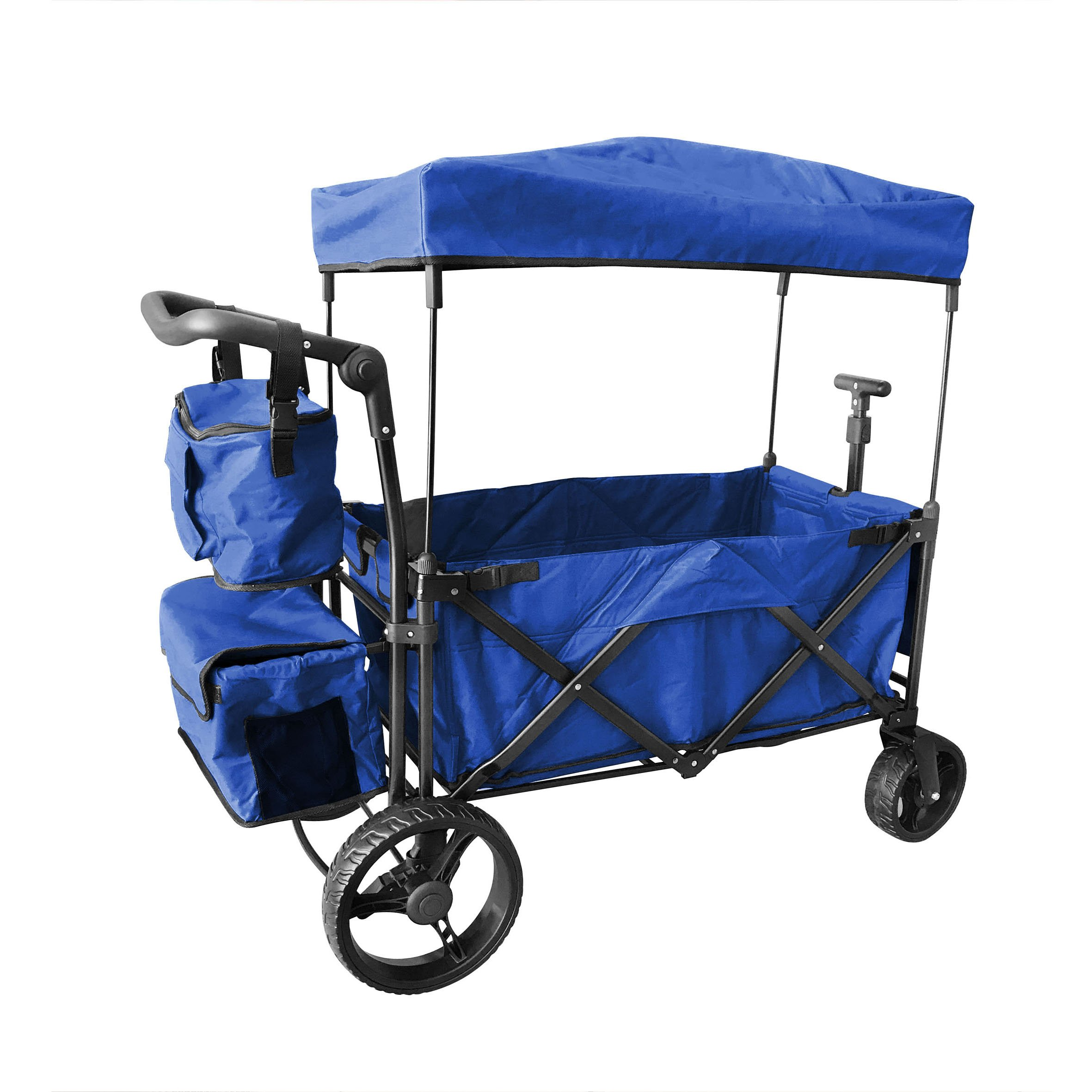 BLUE PUSH AND PULL HANDLE WITH WIDE OFF ROAD ALL TERRAIN TIRES FOLDING STROLLER WAGON W/ CANOPY BEACH OUTDOOR SPORT COLLAPSIBLE BABY TROLLEY GARDEN UTILITY SHOPPING TRAVEL CARTFREE CARRYING BAG
