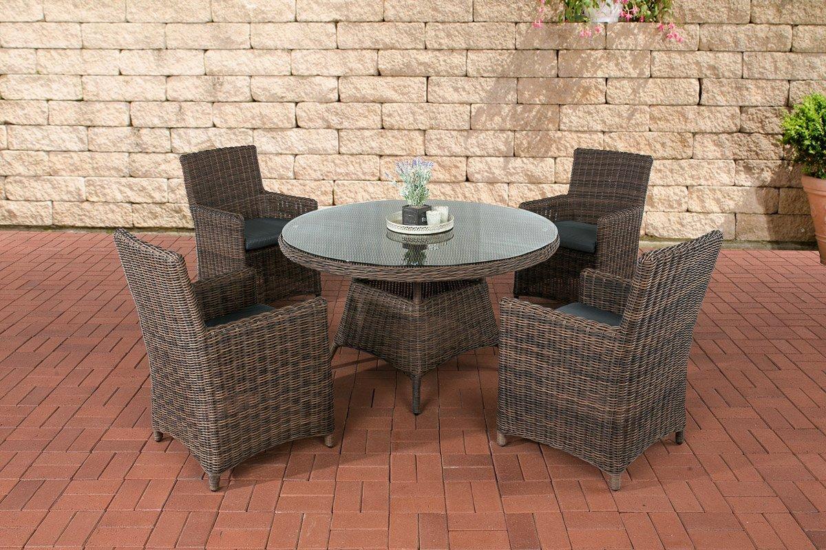 CLP Poly-Rattan Sitzgruppe PINELLA (4 Stühle + Tisch rund Ø 130 cm) Premiumqualität, 5 mm Rund-Geflecht Bezugfarbe eisengrau, Rattan Farbe braun-meliert