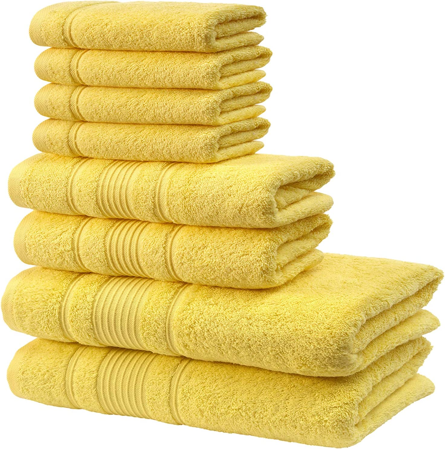 Qute Home Towel Set; Bath Towels, Hand Towels and Washcloths | Spa & Hotel Towels Quick Dry 100% Turkish Cotton Towel Sets for Bathroom, Shower Towel (Yellow, Towel Set - Set of 8)
