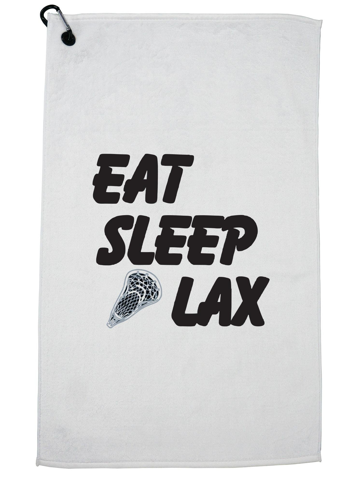 Hollywood Thread Eat Sleep Lax Graphic Lacrosse Player Trendy Design Golf Towel with Carabiner Clip