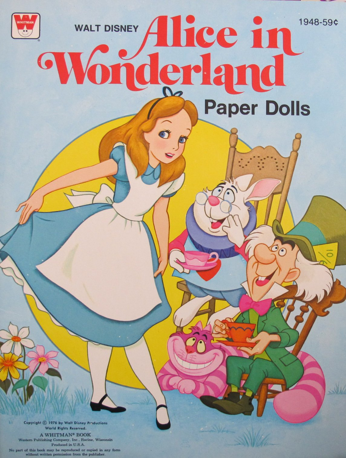 Walt Disney ALICE IN WONDERLAND PAPER DOLLS Book UNCUT (1976 Whitman)