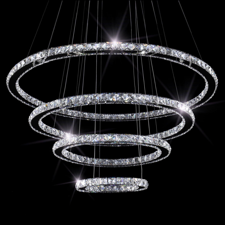 SEFINN FOUR LED Chandelier 60 inch Length 35 inch Outer Diameter Modern Flush Mount Crystal Ceiling Pendant Lights, Oval 4 Rings 30 50 70 90