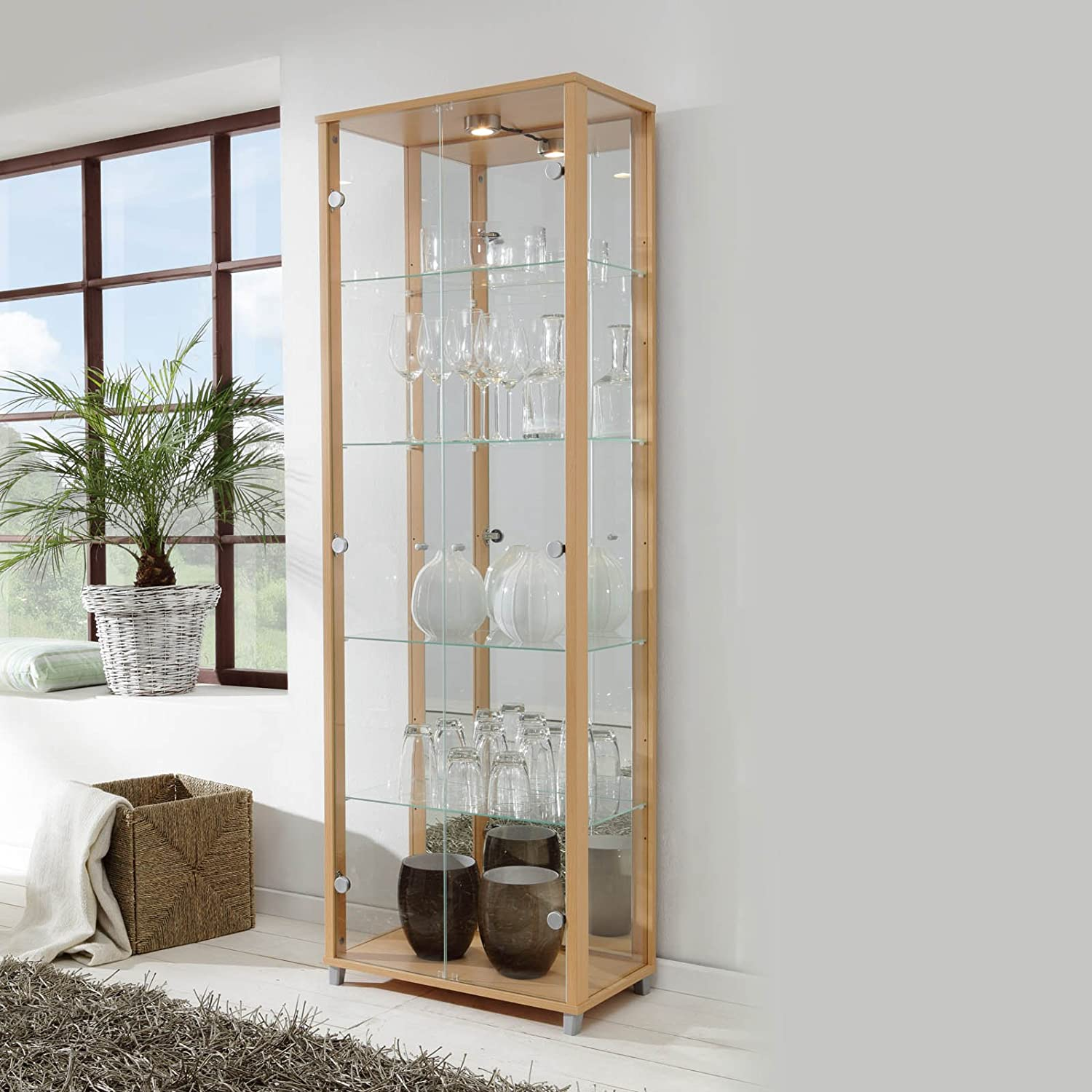 Mirror Back 7 Glass Shelves LOCKABLE Fully Assembled HOME Beech Double Glass Display Cabinet Spotlight