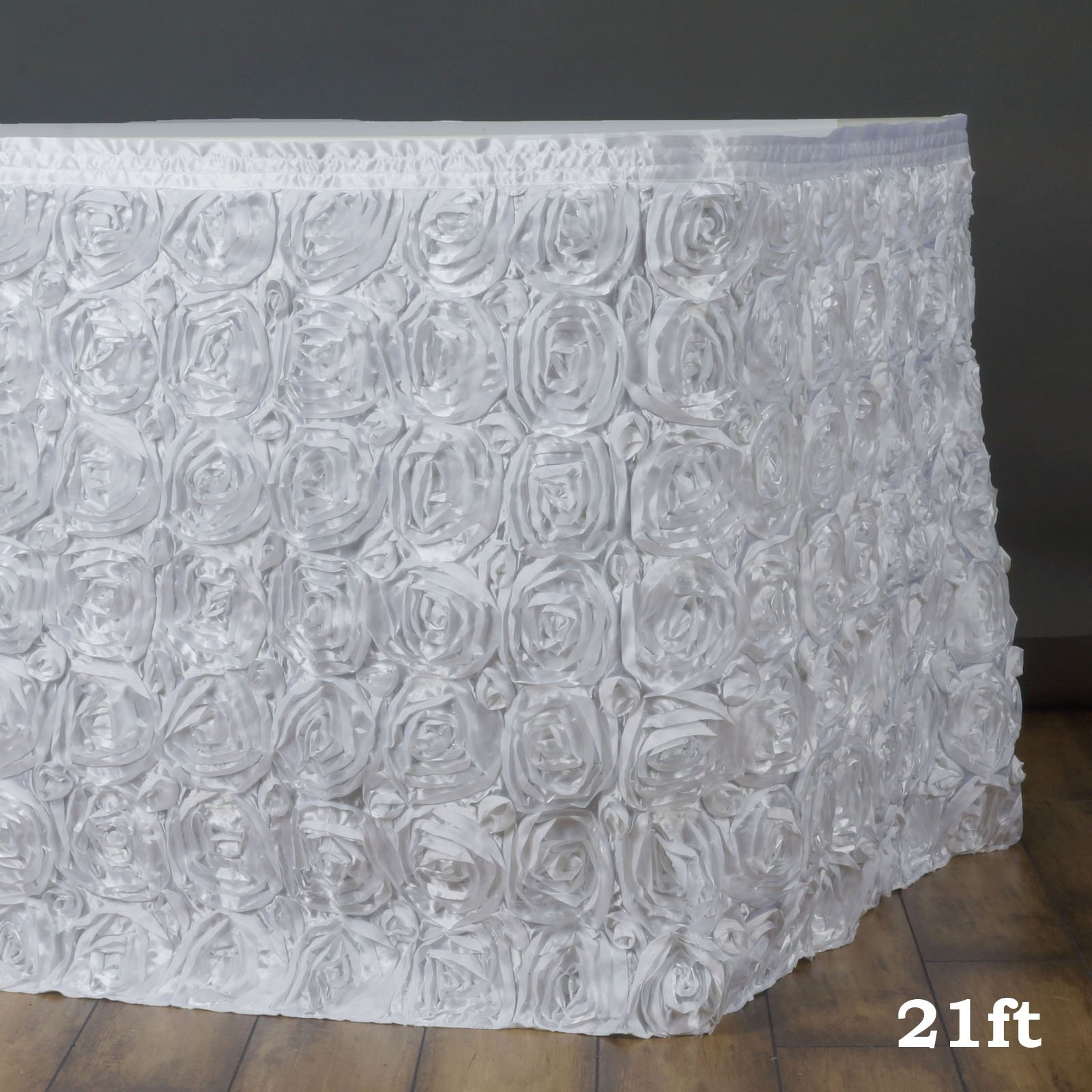Efavormart Wonderland Rosette Table Skirt for Kitchen Dining Catering Wedding Birthday Party Decorations Events - White by Efavormart.com