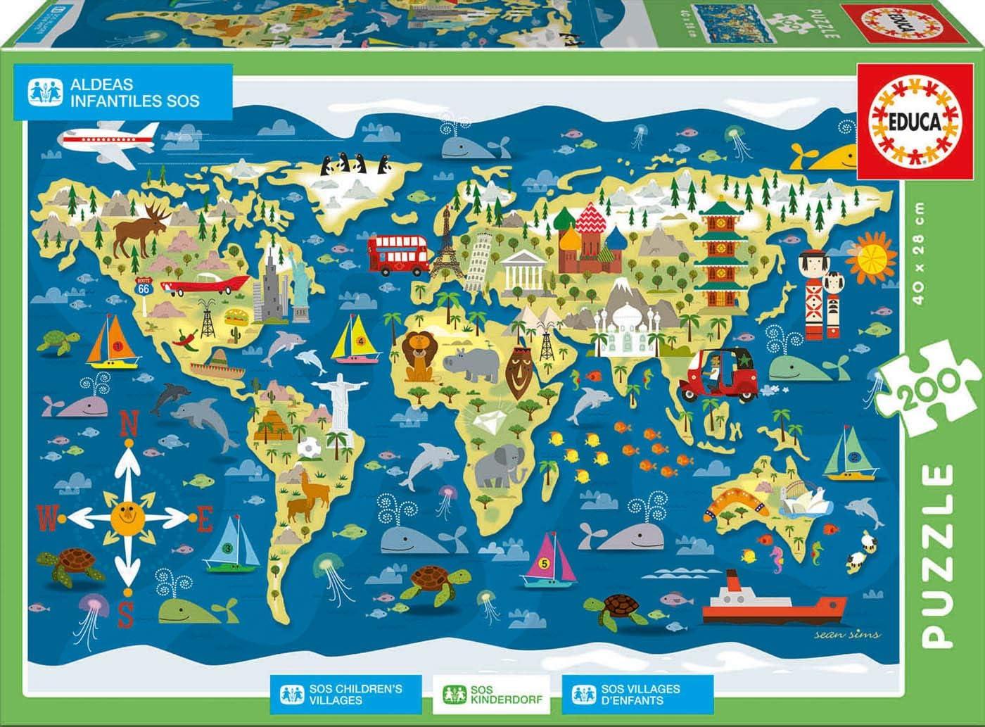Educa- Mapamundi-Sean Sims Aldeas SOS Puzzle Infantil de 200 ...