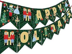 Nutcracker Happy Holidays Banner - Nutcracker Party Supplies - Nutcracker Party Decorations - Christmas Party Decoration - Holiday Party Supplies- HH Dark