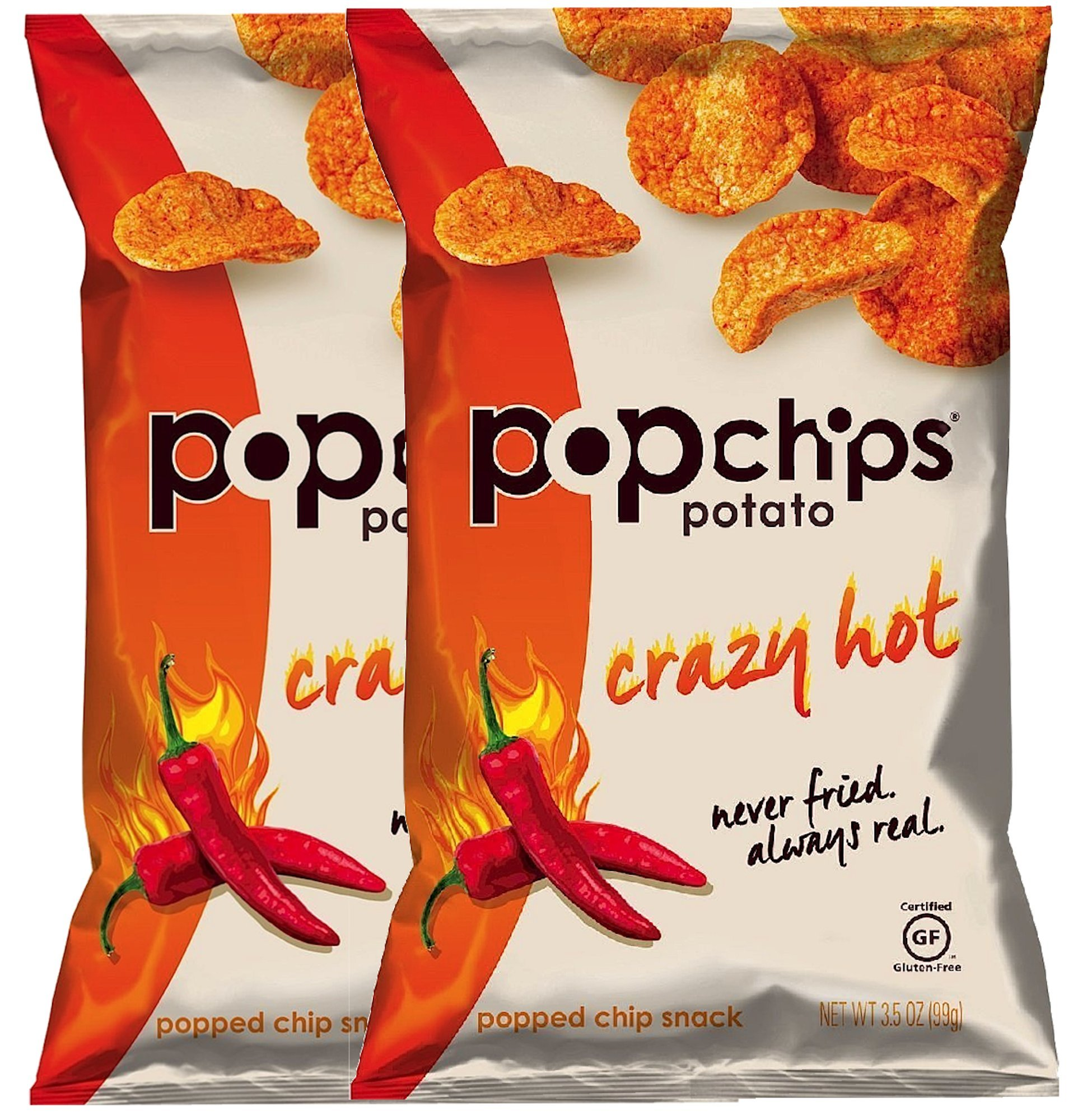 Popchips Crazy Hot Gluten Free Potato Chips, 3.5 oz (2)