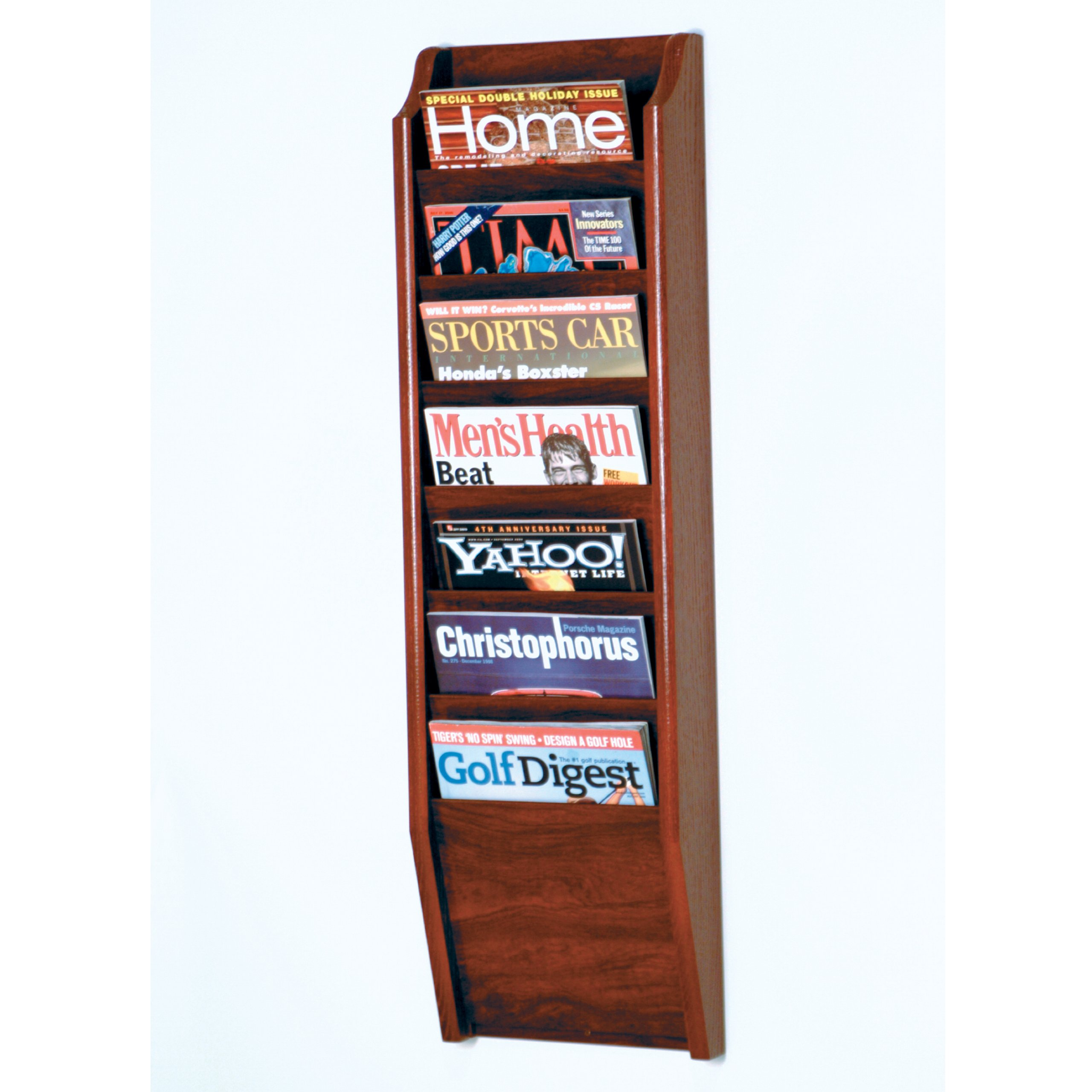 Wooden Mallet 7-Pocket Cascade Magazine Rack, Mahogany by Wooden Mallet