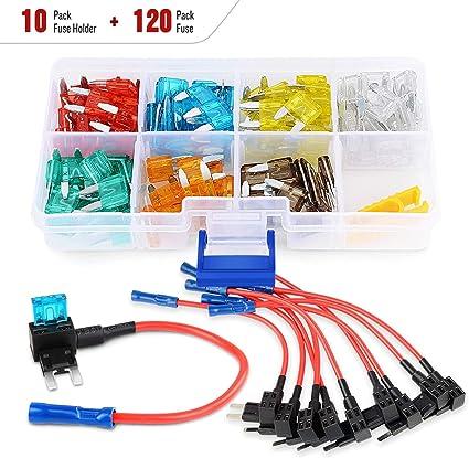 10 Pcs Car Autos Middle Standard ATO ATC Blade Fuse TAP Dual Circuit Adapter Kit