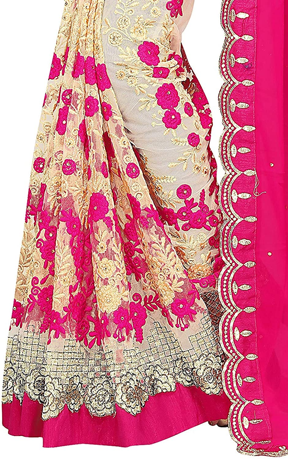 VintFlea Indian Women's Georgette & Mono Net & Banglori Satin Fabric Saree with Blouse Piece Pink