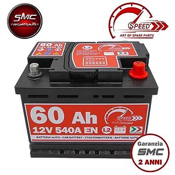 Speed - Batería para coche L260, 60 Ah, 540 A, con polo positivo a la derecha - Speed by SMC: Amazon.es: Coche y moto