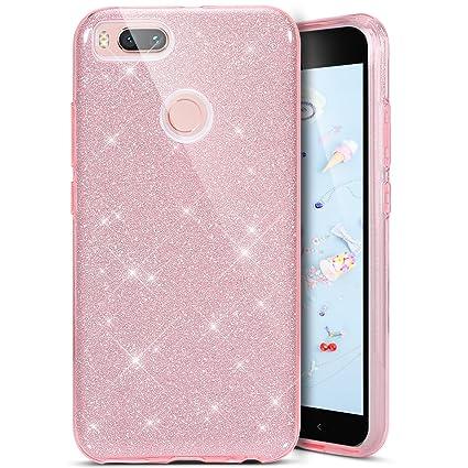 SainCat Funda Xiaomi Mi 5X / Mi A1, Rhinestone Bling Brillo Diamante Funda TPU Silicona Diamante Glitter 3 en 1 Ultra-Delgado con Estilo del para ...