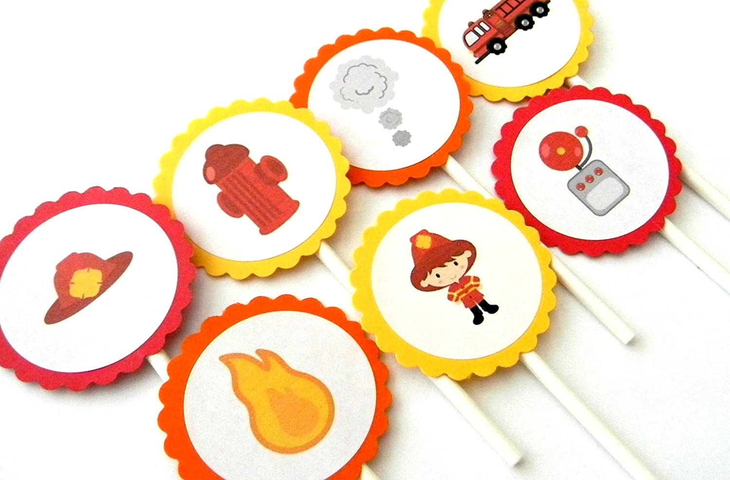 Amazon Com Firefighter Cupcake Toppers Set Of 12 Handmade