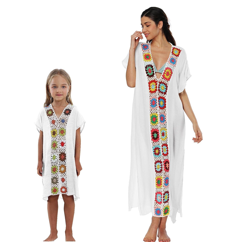 Qunlei Mommy and Me Bikini Swimsuit Cover up Dress V-Neck Family Matching for Women Kids Girls