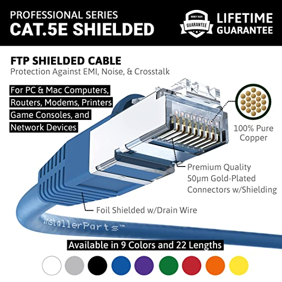 Amazon.com: InstallerParts Ethernet Cable CAT5E Cable Shielded (FTP ...