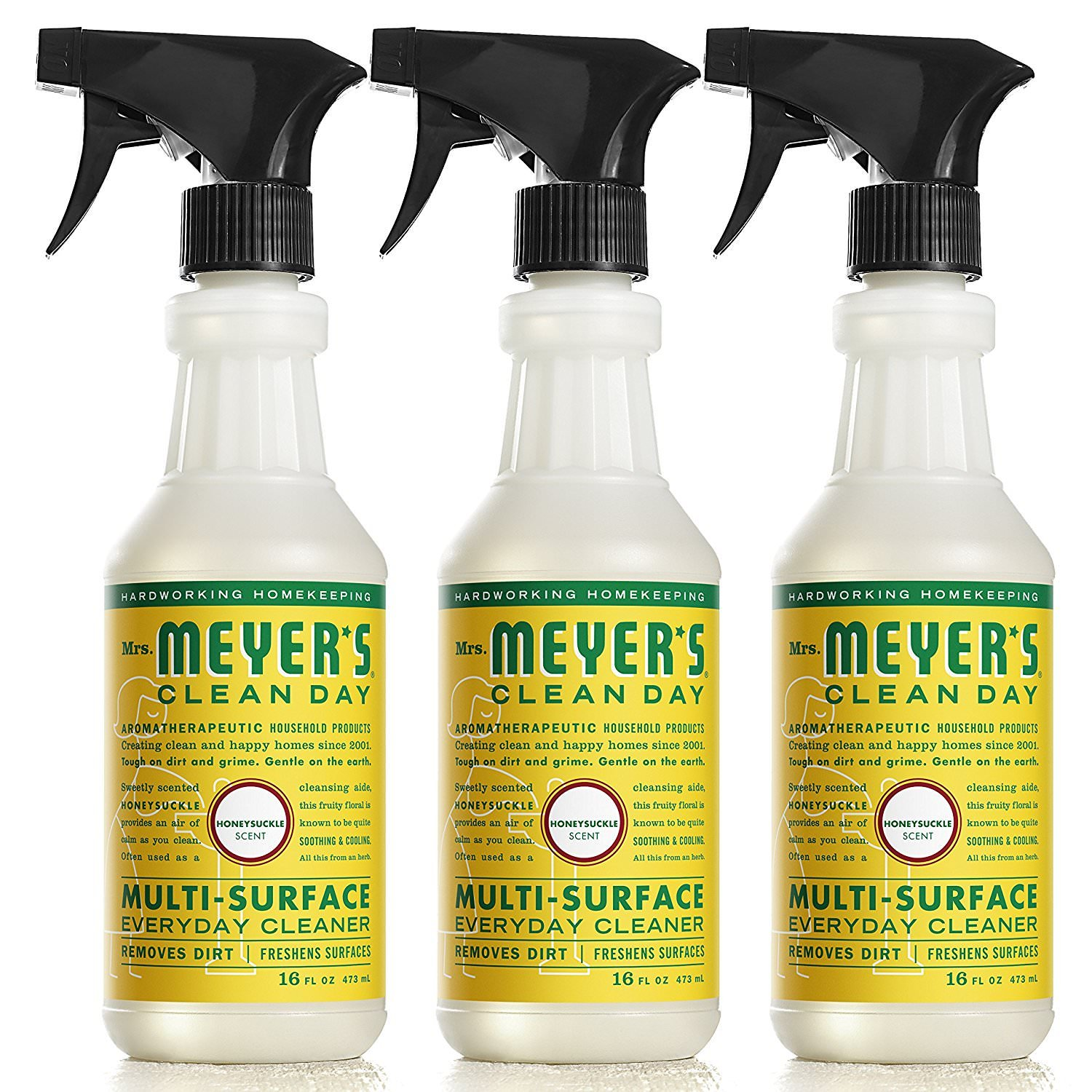 Mrs. Meyers Clean Day Multi-Surface Everyday Cleaner Honeysuckle 16 fl oz, 6 Bottles
