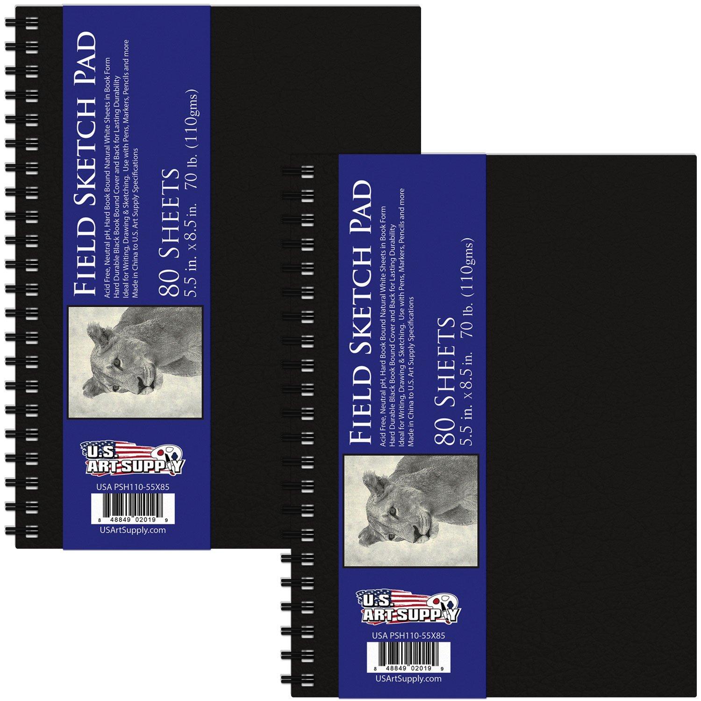 U.S. Art Supply 5.5'' x 8.5'' Premium Hardbound Sketch Book, 70 Pound (110gsm), Book of 80-Sheets (Pack of 2 Pads)