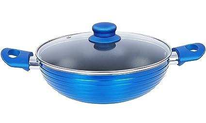 Nirlon Non-Stick Aluminium Kadhai, 3.25 litres, Blue (Forged_KD26cm)