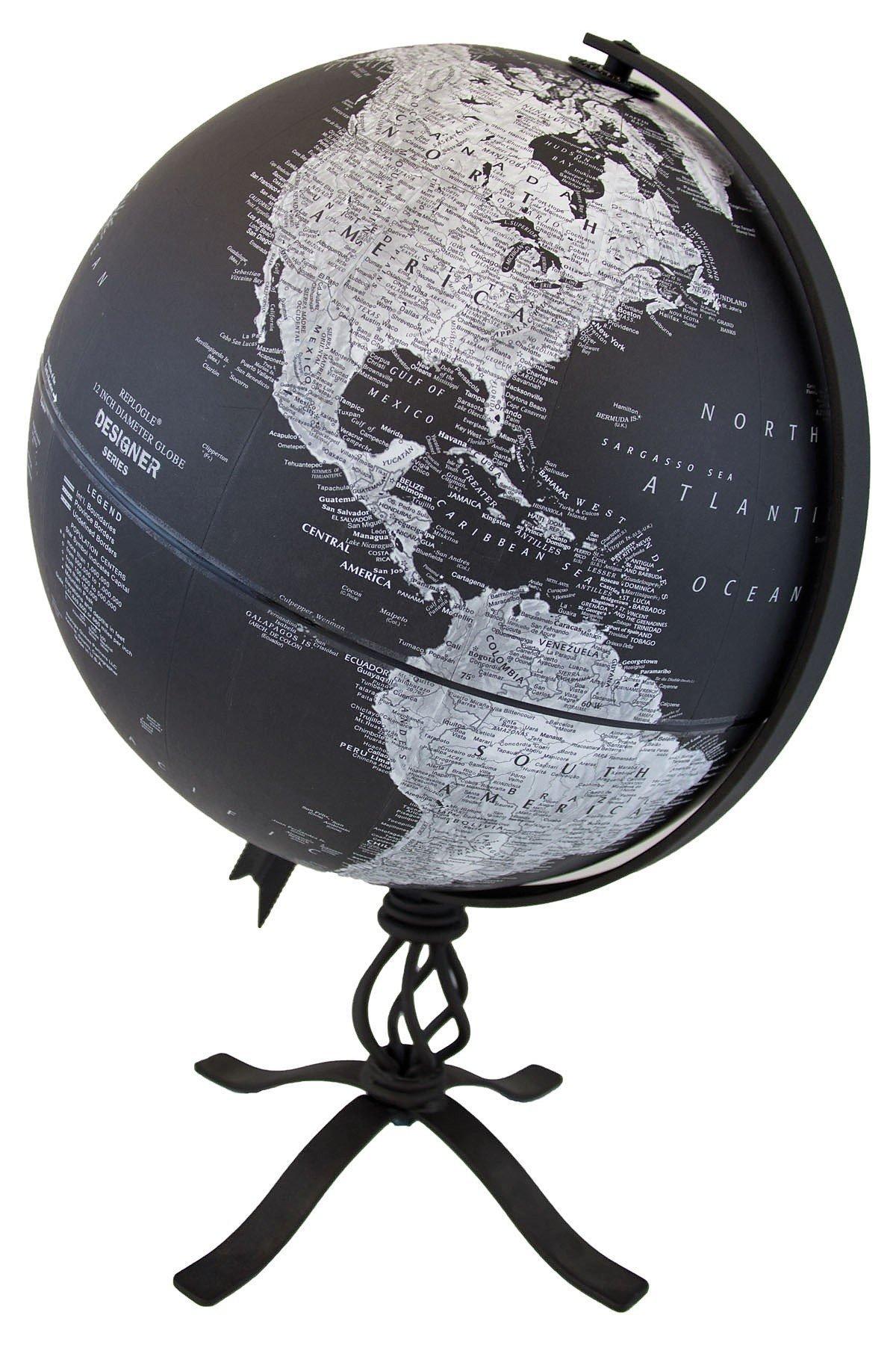 Replogle Hamilton – Designer Series Globe, Black Ocean World Globe, Rustic Black Steel Stand, Raised Relief, Designed for Modern and Industrial Decor (12''/30 cm diameter)
