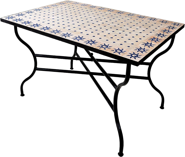 ORIGINAL Marokkanischer Mosaiktisch Gartentisch 40x40cm Gro/ß eckig als Tisch f/ür Balkon oder Garten Eckiger Mosaik Esstisch Mediterran FES Natur Wei/ß 40x40cm