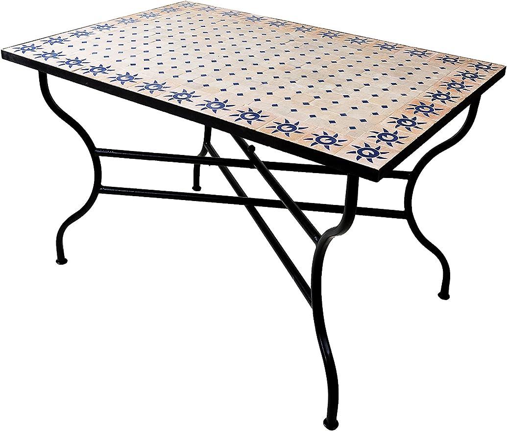 Mesa mosaico de balcón marroquí oriental mediterránea ORIGINAL - Soleil Natural/Azul, 120 x 80 cm - mesa de cocina mesa de azulejos mesa de comedor mesa de jardín mesa de terraza: Amazon.es: Hogar