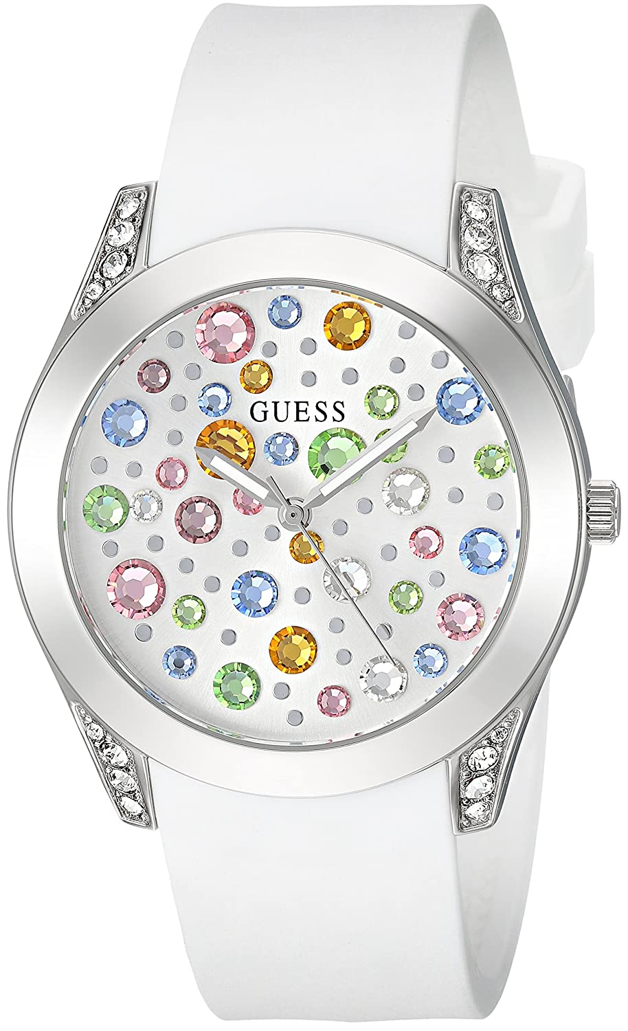 cd9929d12 Amazon.com: GUESS Silver-Tone + White Stain Resistant Silicone  Multi-Colored Crystal Watch. Color: White (Model: U1059L1): Watches