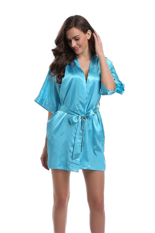 Sunnyhu Women's Pure Color Satin Kimono Robe