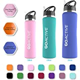 GO Active Insulated Water Bottle with Straw. Stainless Steel Double Wall Sport bottle featuring ActiveLock thermal vacuum keeps ice over 24 hours! Durable, Portable