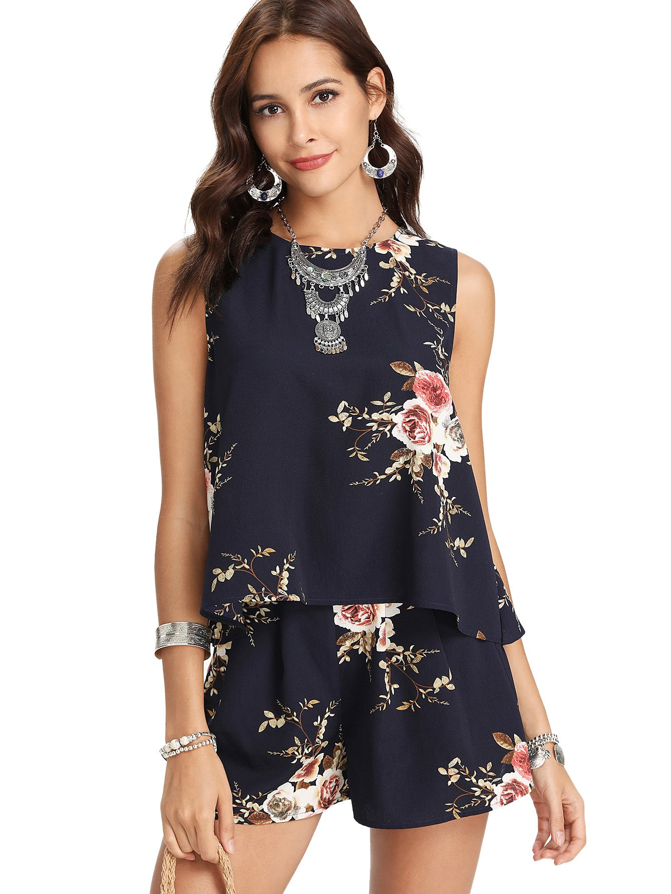 SweatyRocks Women's Floral Print Overlap Back Top and Shorts Set 2 Piece Outfit Navy L