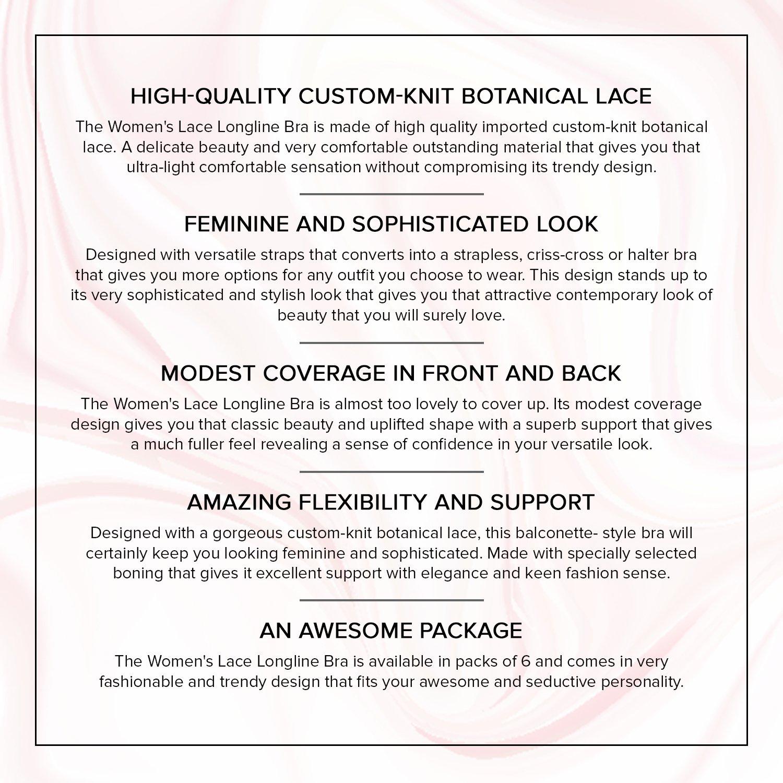 Undies.com Womens Lace Longline Bra 3 Piece Pack