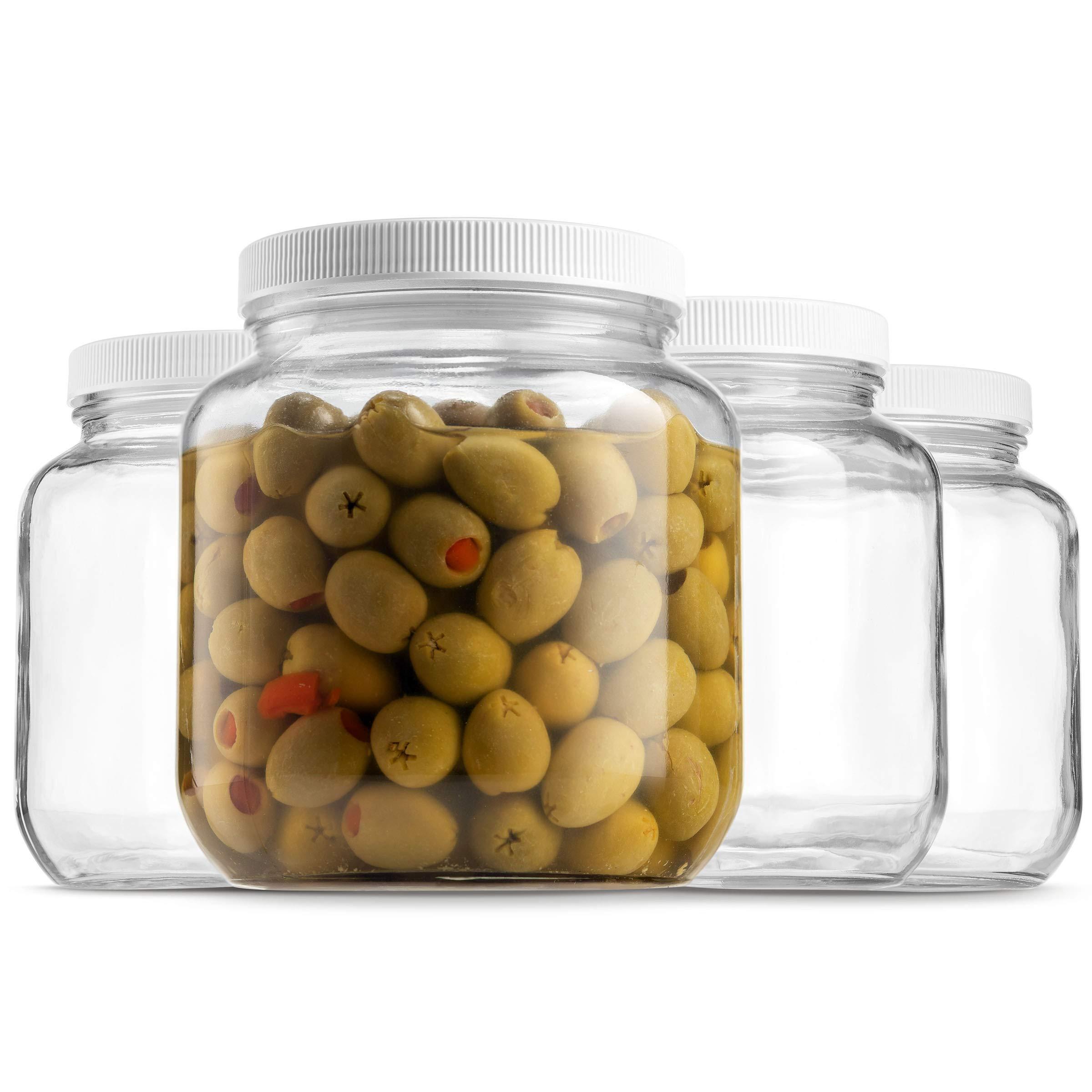 Half Gallon Glass Mason Jar (64 Oz - 2 Quart) - 4 Pack - Wide Mouth, Plastic Airtight Lid, USDA Approved BPA-Free Dishwasher Safe Canning Jar for Fermenting, Sun Tea, Kombucha, Dry Food Storage, Clear by Paksh Novelty