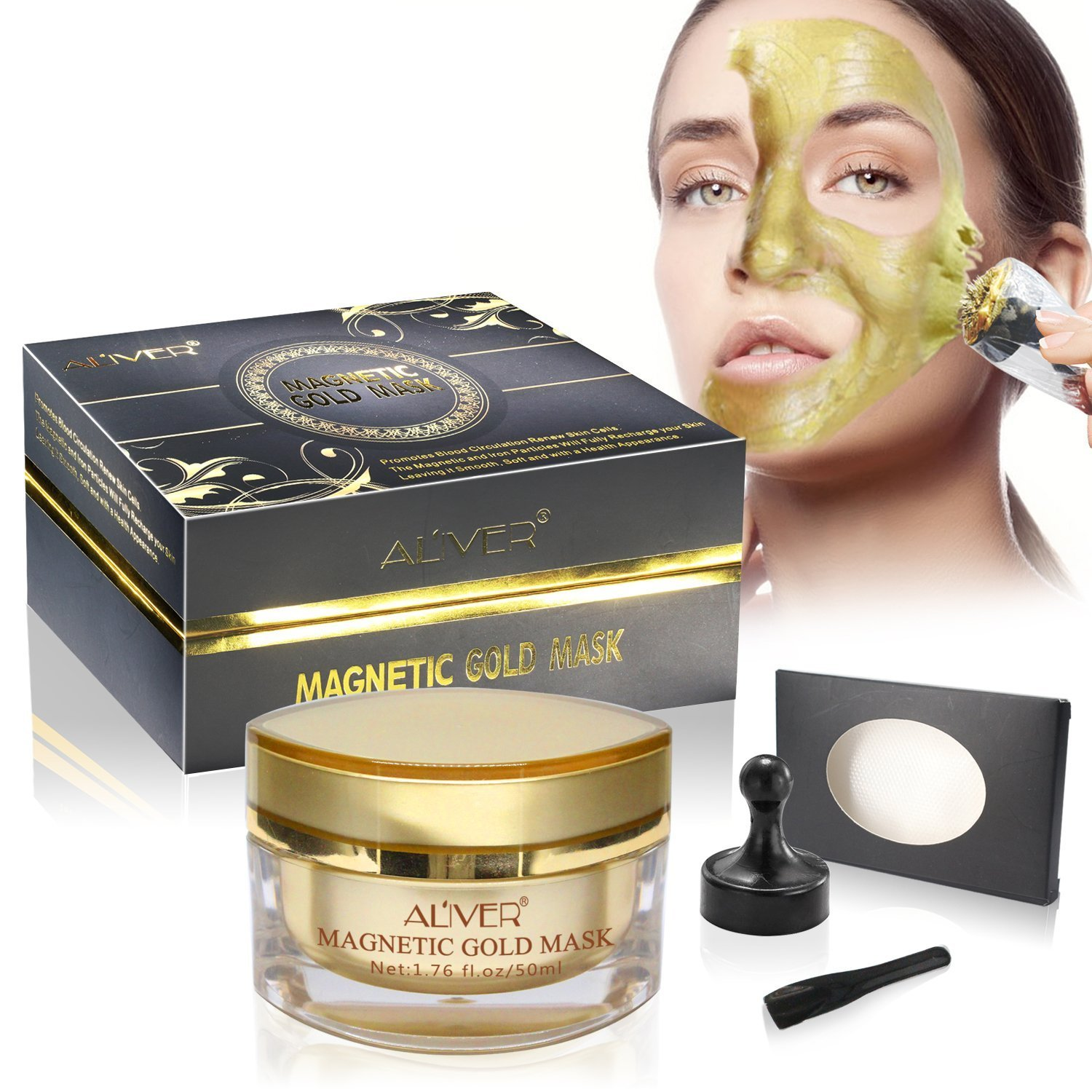 ALIVER Gold Mineral Magnetic Sea Mud Face Mask Deep Skin Cleanser,Pore Reducer & Help Clean Acne,Blackhead & Oil Skin (50 ML/1.76 fl. oz)  YILAIMEI